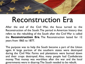 Civil War - The Reconstruction Era PowerPoint