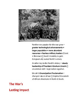 Civil War: The Wars End and Impact (Cornell Notes)