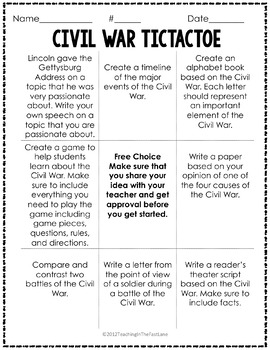 Civil War Activity Tic Tac Toe Choice Board