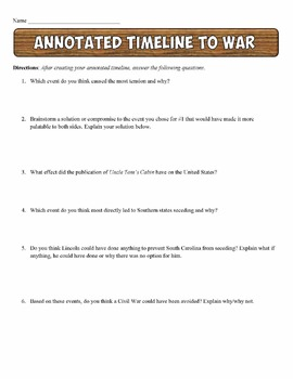Civil War Timeline Activity Events Leading to War