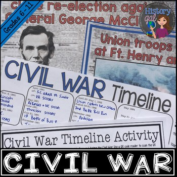 Civil War Timeline Activity (With and Without QR Codes)