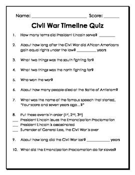 Civil War Timeline Quiz