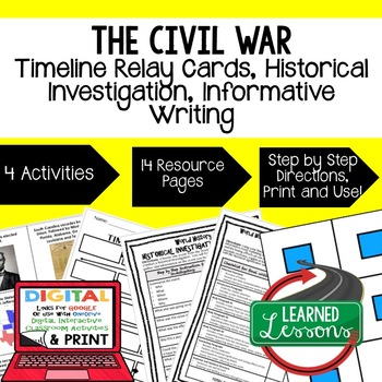 Civil War Timeline Relay and Writing Activity (Paper and Google Drive)