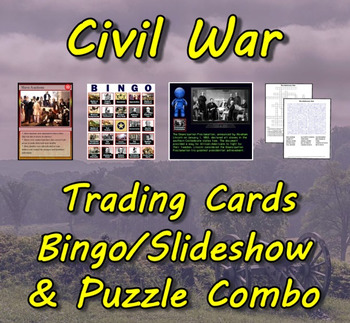 Civil War Trading Cards, Bingo/Slideshow and Puzzle Combo