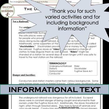 US Civil War Underground Railroad Reading and 4 Center Activities