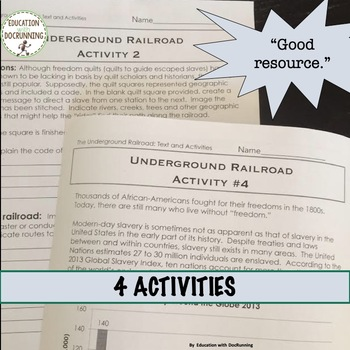 US Civil War Underground Railroad Reading and 4 Center Activities