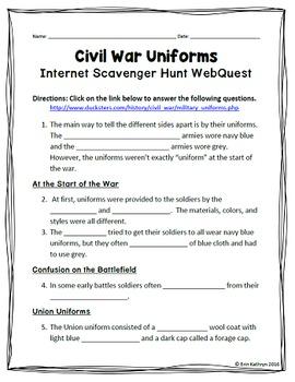 Civil War Uniforms Internet Scavenger Hunt WebQuest Activity
