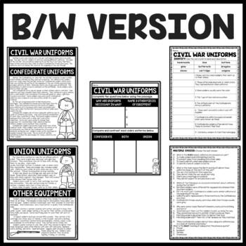Civil War Uniforms Reading Comprehension Worksheet