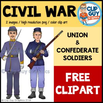 Civil War Union & Confederate Soldiers Clip Art FREEBIE {Clip Guy Graphics}