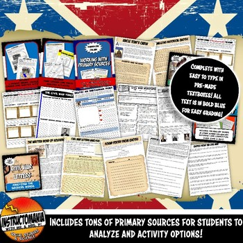 Google Classroom Civil War Lesson Bundle Grades 6, 7 & 8:Civil War Complete Unit