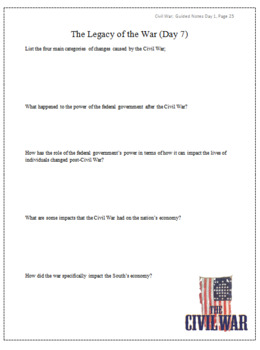 Civil War Unit Guided Notes