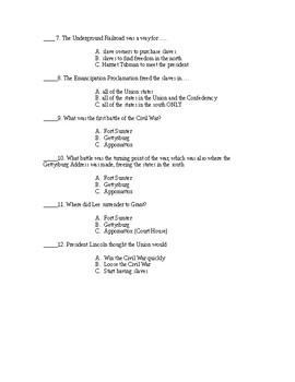 Civil War Unit Test