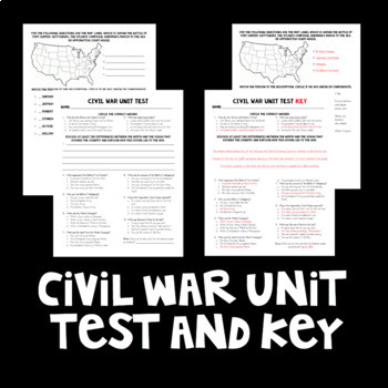Civil War Unit Test with Key