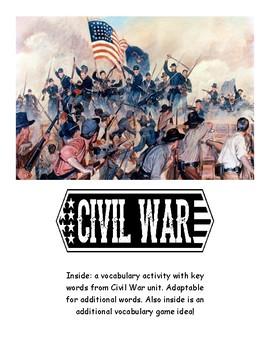 Civil War Unit Vocab Activities