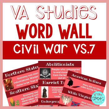 Civil War VS.7 Vocab Word Wall Cards
