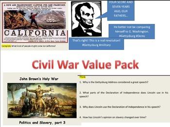 Civil War Value Packet: Jefferson, Lincoln, Gettysburg, Emanicipation