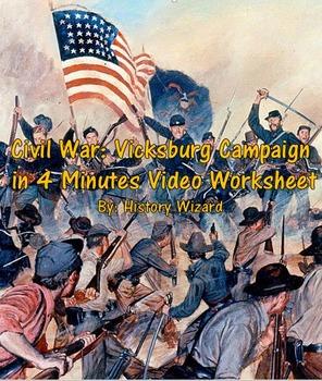 Civil War: Vicksburg Campaign in 4 Minutes Video Worksheet