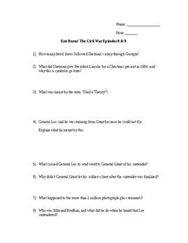 Civil War Video Worksheet