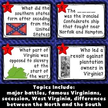 Civil War: Virginia Studies Task Cards