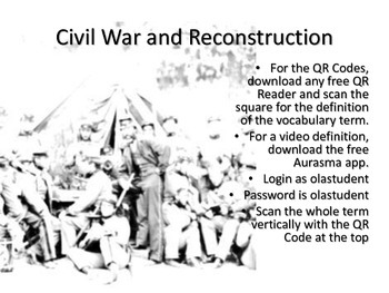 Civil War Vocabulary Cards with QR Code Definitions