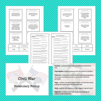 Civil War: Vocabulary Fold Up