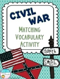 Civil War Vocabulary Matching Activity - Set of 20
