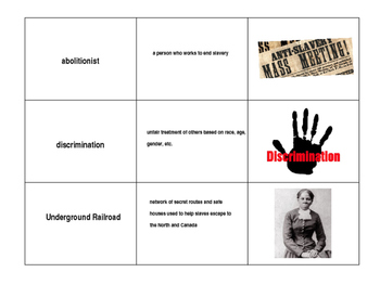 Civil War Vocabulary Matching Cards