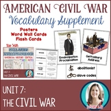 Civil War Vocabulary Posters, Flash Cards, and Word Wall Cards