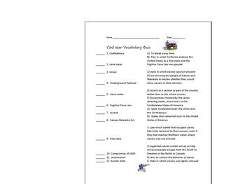 Civil War Vocabulary Quiz