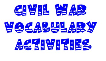 Civil War Vocabulary Smartboard Games and Activities