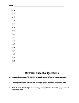Civil War Vocabulary, Story Assignment, and 6 Essential Questions