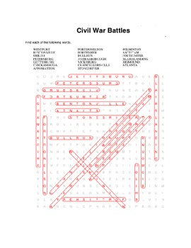 Civil War Vocabulary Word Search Packet