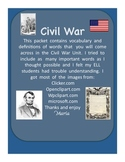 Civil War Vocabulary Word Wall Cards with Definition