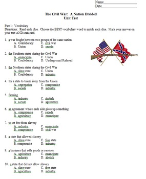 Civil War Vocabulary and Unit Test 5th Grade