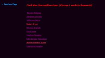 """Civil War Webquest Lesson Plan """"TECHNOLOGY & SOCIAL STUDIES RESOURCE"""""""