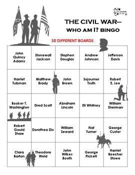 Civil War - Who Am I? Bingo