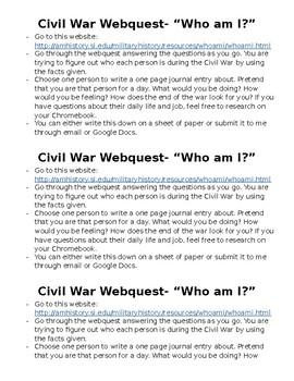 Civil War Who Am I? Webquest