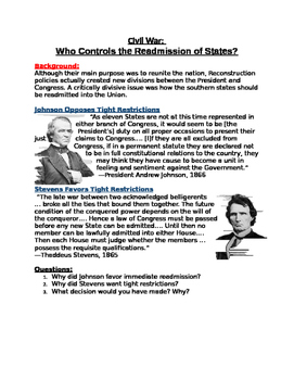 Civil War: Who Controls the Readmission of States? Stevens Vs. JohnsonWorksheet