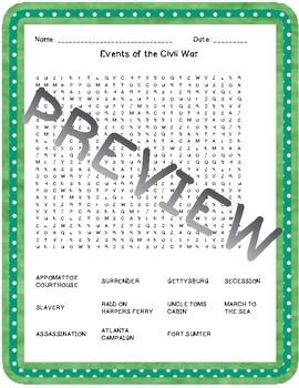 Civil War Word Searches