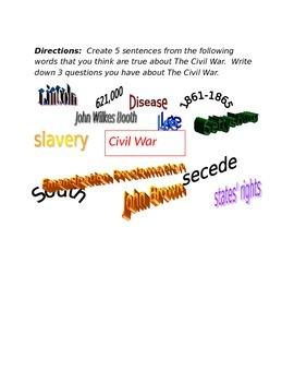 Civil War Word Splash