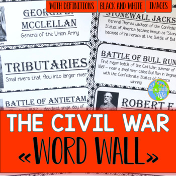 Civil War Word Wall - Black and White