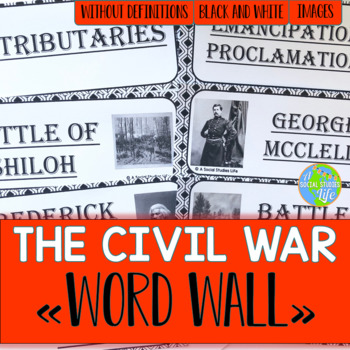 Civil War Word Wall without definitions - Black and White