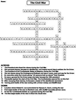 Civil War Worksheet/ Crossword Puzzle