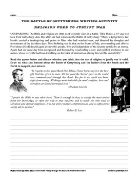 Civil War Writing Activity: Religion and War