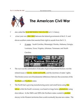 Civil War _ Fill in the Blanks + Key (To Kill a Mockingbird)
