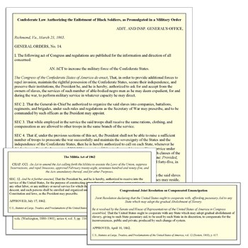 Civil War and Emancipation Primary Source Analysis Lesson