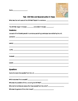 Civil War and Reconst-Texas Test/Vocab/ShortAns/Essay/St Guide/SpEd/H.Sch/CoopGr