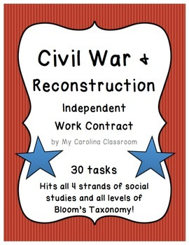 Civil War and Reconstruction Independent Work Contract