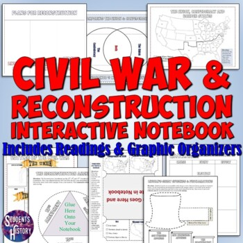 Civil War And Reconstruction Interactive Notebook Pages For American