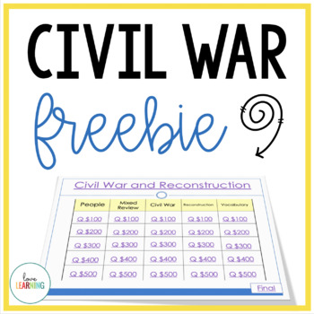Civil War and Reconstruction Review Game